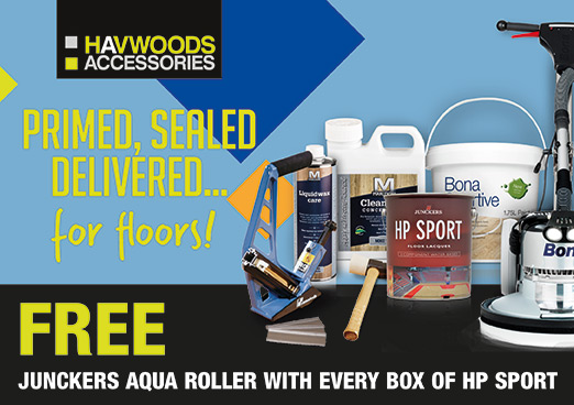 Havwoods Accessories are now offering you a FREE aqua roller with every box of Junckers HP Sport