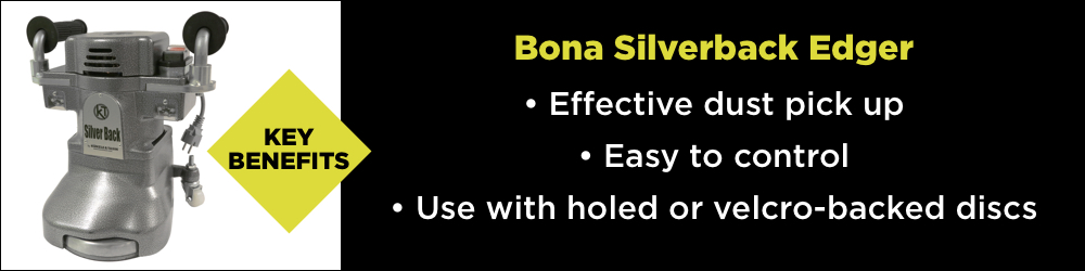 The key benefits of the Bona Silverback Edger - effective dust pick up, easy to control and ability to sue with holed or velcro-backed discs.